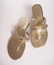 Guess Women's Rhinestone Embellished Gold Sandals Thongs Flip Flops WGBRALEY 6