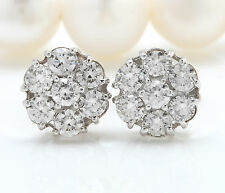 1.20CTW Natural VS1 / F-G Diamonds in 14K Solid White Gold Stud Earrings