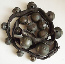 18 HORSE DRAWN SLEIGH BELLS Antique GRADUATED Brass Embossed 54 INCH Leather SET