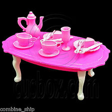 Set Queen Ann Dining Table Teapot Tableware 1:6 Barbie Doll's House Furniture