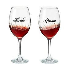 2 Sets of Bride Groom Wine Glass Decal sticker for Wedding