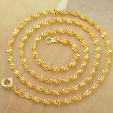 17.7 Inch 9K Yellow Gold Filled Water Wave Womens Chain Necklace,Z4806