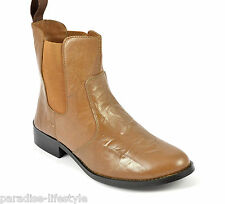 Womens Ladies Leather Chelsea Boots Cowboy Ankle High Biker Outdoor Shoes Size
