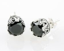 Unique 925 Sterling Sliver Medieval Vintage Style Stud Earrings W. Black CZ