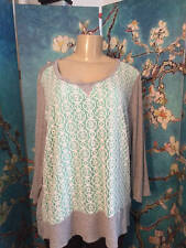 CHA CHA VENTE PLUS 2X GRAY/GREEN LACE FRONT RAYON HI-LO 3/4 SLEEVE TUNIC TOP