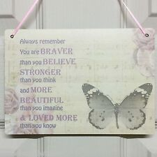 Inspirational Motivational Friendship Plaques Gift Stronger Quote Butterfly Sign