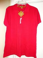 HARRITON Womens Polo Golf Womens Red Short Sleeve Shirt Size Large NEW