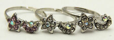 Vintage Adjustable Star Ring Lot of 3 w/ Rhinestones Movable Cute Silver Tone