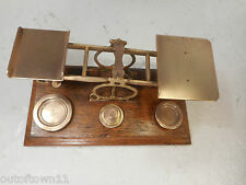 Antique Mordan Brass Postal Scales , Letter Scales + Weights  ref 2324