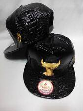 NEW Fashion Bulls leather Adjustable BBoy Hip-Hop Style Snapback Hats Black