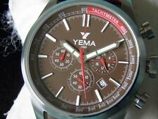 GROS CHRONO YEMA CADRAN CHOCOLAT NEUF ÉTANCHE 50 M CUIR GROSSE COUTURE BLANCHE