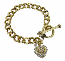 "Juicy Couture 7.5"" Heart Charm Crystal Toggle Starter Bracelet Gold Tone Gift"