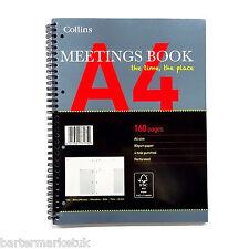 Collins réunions book A4 200 page date heure sujet notes et plus