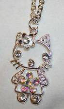 Delightful Aurora Borealis Crystal Rhinestone Hello Kitty Silvertone Necklace