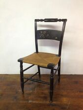 Antique HITCHCOCK CHAIR TURTLE BACK Black Gold Spindle Rush Seat