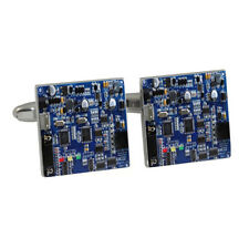 Blue Circuit Board Cufflinks electric PCB resistor capacitors diode BNIB