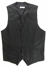LA VALIERE Paris Black On Black Textured Floral Pattern Gents Vest