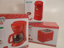 Set of Kitchen Electric Can Opener 5 Cup Coffee Pot Maker and Toaster NEW Red