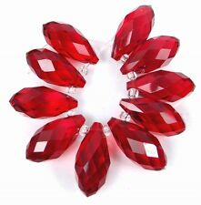 20x9mm Ruby Glass Quart Faceted Teardrop Beads (10)