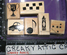STAMPIN UP SPECIAL EVENTS 6 RUBBER STAMPS CAR MUSICAL NOTE STARS CRAYON