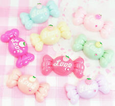 8 x LOVE Candy Sweets Pastel Rainbow Flat Back Resin Cabochons Decoden Crafts