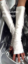 SEXY NEW EXTRA LONG SPANDEX FINGERLESS GLOVES WHITE