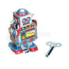 Vintage Wind Up Walking Space Robot Mechanical Clockwork Tin Toy Collectible