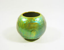 ZSOLNAY, GREEN EOSIN GLAZE PORTACANDELINA PORCELAIN LAMPION HOLDER VASE POT 3.3""