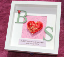 Personalised traditional 4th or 12th silk wedding anniversary gift frame