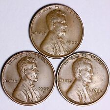 1937 + 1937-D + 1937-S  Lincoln Wheat Cents LOWEST PRICES ON THE BAY! FREE S/H