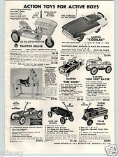1956 PAPER AD Garton Pedal Car Hot Rod Racer Race Kidillac AMF Toy Play Tractor