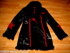 VTG-BLACK PLEATHER PVC FAUX FUR STAR JACKET COAT-S-M