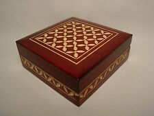 "Vtg Handmade Wood Jewelry Box Trinket Stash Carved Wooden Folk Art 4"" Square"