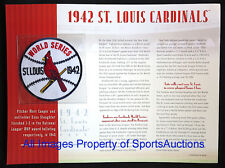 ST LOUIS CARDINALS 1942 WORLD SERIES PATCH Willabee Ward CHAMPIONSHIP COLLECTION