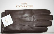 NWT COACH Men's Mahogany 100% Sheepskin Leather Wool/Cashmere Lined Gloves Small