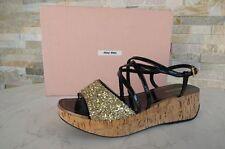 MIU MIU Gr 38,5 Plateau Sandaletten sandals Glitter black Schuhe shoes UVP 290 €