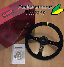 NEW UNIVERSAL BLACK OMP 350MM SUEDE DEEP DISH RACING SPORT STEERING WHEEL SPARCO