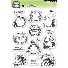 New Penny Black RUBBER STAMP  9 LIVES kitty cat clear set free usa ship