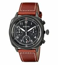 Bulova Classic 98B245 Black Dial Brown Leather Band Men's Watch