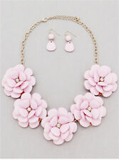 Flower Floral Pink Lucite With Clear Crystal Gold Tone Necklace Earring Set