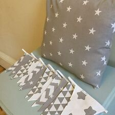 GREY STAR CHEVRON NURSERY SET HANDMADE BUNTING CUSHION geometric vintage baby