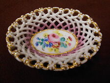 Woven Lattice Porcelain Basket Bowl Hand Painted Pink Floral Shabby Roses