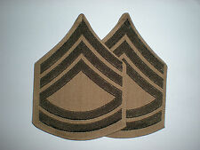 USMC PRE-1958 GUNNERY SERGEANT  RANK - GREEN ON KHAKI - 1 PAIR