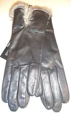 Ladies Fur Cuffed Genuine Leather Gloves, XLarge, Black