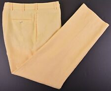RECENT Brooks Brothers 1818 Madison Yellow 100% LINEN Flat Front Chinos Pants 34