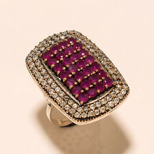 Natural Burmese Red Ruby Pave Setting 925 Sterling Silver Turkish Jewelry Ring