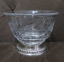 Heisey Glass Watson Sterling Silver Fern Berry Wheel Cut Divided Bowl Candy Dish