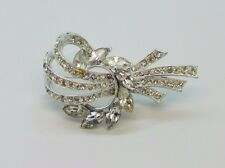 Vtg Beautiful Signed LISNER Silver Tone Clear Glass Rhinestone Brooch Pin