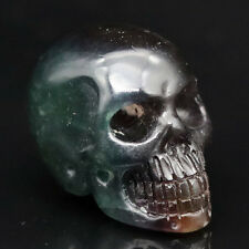 "1.66""Beautiful-FLUORITE Carved Crystal Skull, Realistic,Crystal Healing AG12"