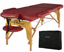 Burgundy PU Portable Massage Table w/Free Carry Case U1